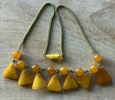 £46.55 • Buy Vintage Natural Butterscotch BALTIC AMBER Beads Necklace Chain Gold Plated...