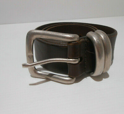 £20 • Buy Jigsaw Thick Brown Leather Chunky Silver Buckle Belt 28 10 12 14 VGC Waist