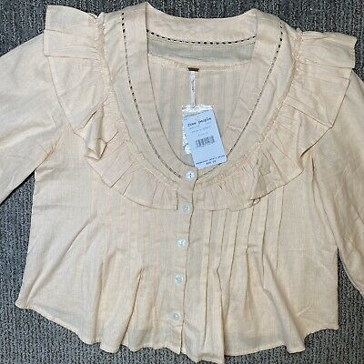 £29.01 • Buy Free People Womens S Blouse Peasant Boho Top Crop Ruffle Barely Peach NEW