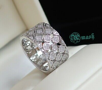 £50 • Buy Wide Sterling Silver & Simulated Diamond Cocktail Band, Art Deco Ring, All Size