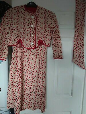 £30 • Buy Beautiful Red And Cream Vintage Maxi Dress Set With Petit Jacket And Waist Tie