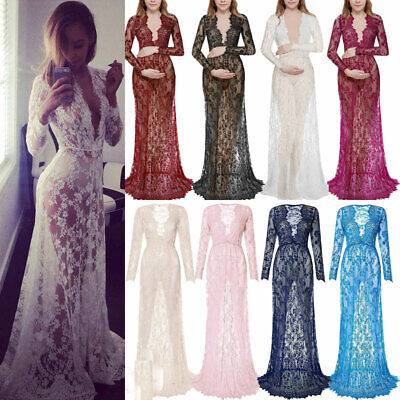 AU28.19 • Buy Women Pregnant Maternity Lace Sheer Maxi Dress Gown Photography Prop Photo Shoot