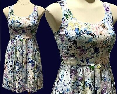 AU25 • Buy FOREVER NEW Dress Sz 8 S Fit & Flare Blues Pink Textured Fabric Satin Lining EUC