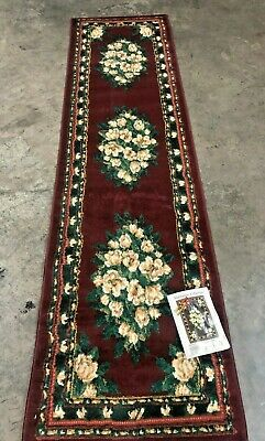 $24.99 • Buy Magnolia Burgundy Hall Runner 2x7 Area Rug For The Home New!