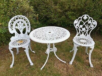 £255.99 • Buy Cast Metal/aluminium Garden Table And 2 Chairs Patio Bistro Set Furniture