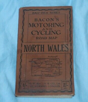 £4.99 • Buy Old Bacons Motoring And Cycling Road Map North Wales Book Cloth Linen Map