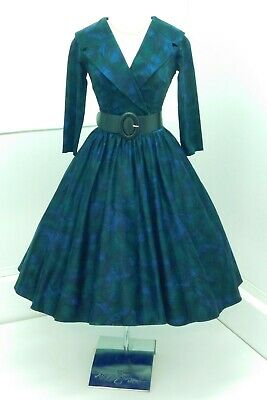 £69 • Buy BNWT Pinup Girl Couture 50s Style Circle Dress Peacock Feather Purple Green L