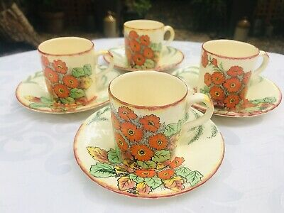 £12 • Buy Vintage Parrot & Company Coronet Ware Demitasee Coffee Cups & Saucers Set Of 4