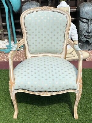 £120 • Buy French Louis Shabby Chic Ornate Vintage Washed Wood Pale Mint Green Carver Chair