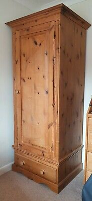 £45 • Buy Solid Wood Pine Single Wardrobe, With Drawer, Metal Hanging Rail, Good Condition