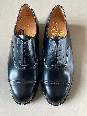 £100 • Buy New SANDERS OFFICERS LEATHER SHOES, UK-MADE, BLACK SIZE 8