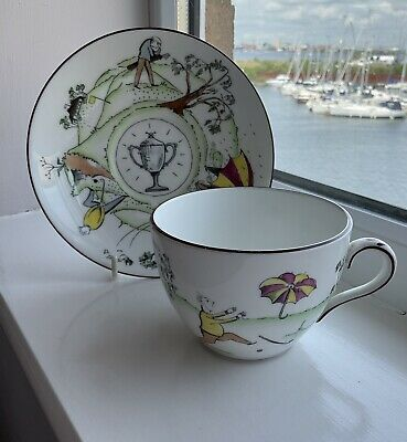 £5 • Buy Vintage Crown Staffordshire Bone China Cup And Saucer - Golfing Scenes - 1950's