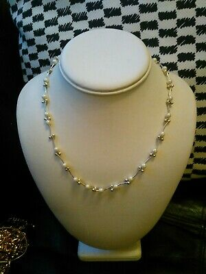 £4.95 • Buy Pretty Delicate Silver Metal Chain Pearl Glass Bead Ball Necklace
