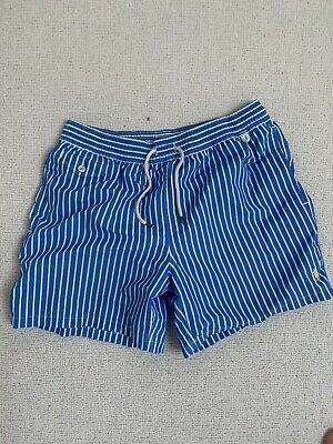£8.99 • Buy Polo Ralph Lauren Blue And White Striped Swim Shorts Size L Swimming Trunks