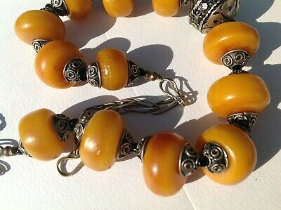 £19.95 • Buy Vintage Jewellery Antique ? Berber Style Butterscotch Large Amber? Bead Necklace