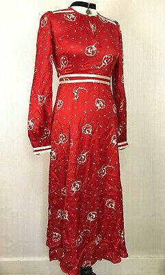 £32.99 • Buy BY TIMO Red Floral Dress XS Maxi Long Key Hole Chest Gown BYTIMO VTG