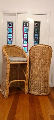 AU125 • Buy Pair Of Tall Vintage Cane Wicker Stools VGVC