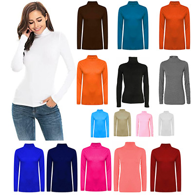 £5.30 • Buy Womens Long Sleeve Polo Neck Top Ladies Polo Neck Turtle Neck Top T Shirt 8-26