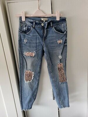 £14.99 • Buy River Island Sequin Jeans Size 10