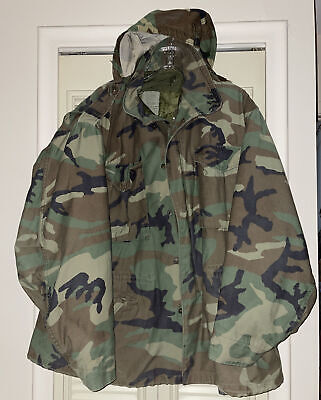 $64.99 • Buy US ARMY Military Woodland CAMO Cold Weather Parka Coat Hunt Hood X-Large