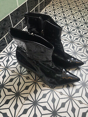 £10 • Buy Clarks Point Black Patent Leather Heel 60s Mod Ankle Boots 39/UK6 60's Go Go Mod