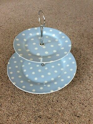 £3.99 • Buy 2 Tier Cake Stand. Blue With White Spots