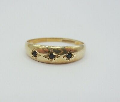£150 • Buy 9ct Yellow Gold Sapphire Gypsy Ring UK Size Q