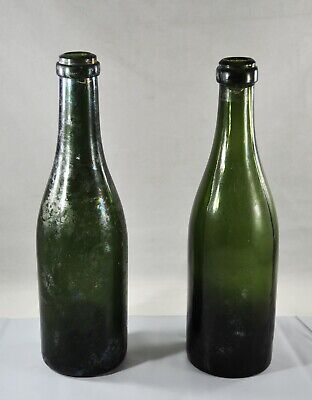 """$12 • Buy Antique Green Glass Bottle Turn Mold Push Up Base 10"""" Tall"""