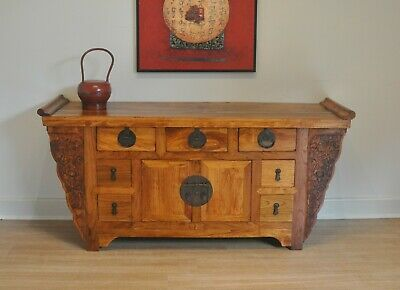 AU425 • Buy Vintage Antique Style Chinese Carved Altar Cabinet, Sideboard, Buffet, TV Stand.
