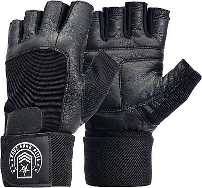 £19.70 • Buy Weight Lifting Gloves - Soft Leather Gym Gloves With Wrist Support + Double And