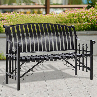 £155.95 • Buy 3 Seater Garden Park Metal Bench Patio Chair Wrought Iron Style Armrest Outdoor
