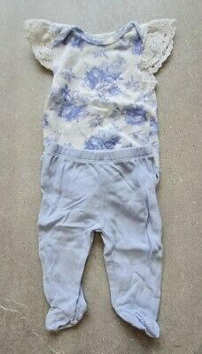 £2 • Buy Kyle & Deena 0-3M Bodysuit Top & Trousers Summer Outfit Lace Blue Baby Girl