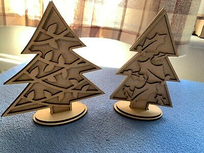 £2.75 • Buy Wooden MDF  3D Christmas Trees On Stands  Craft Shapes Blanks 8 Different Trees