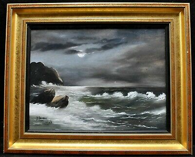 £10.50 • Buy EARLY 20th CENTURY OIL ON BOARD - MOONLIT SEASCAPE - ANTIQUE SEA PAINTING