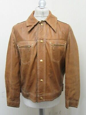 $81.83 • Buy VINTAGE 70's DISTRESSED LEATHER REVERSABLE MOTORCYCLE TRUCKER JACKET SIZE M
