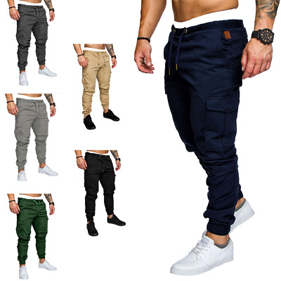 $25.99 • Buy Mens Cargo Pants Work Trousers Pocket Casual Pants Workwear Sports Training