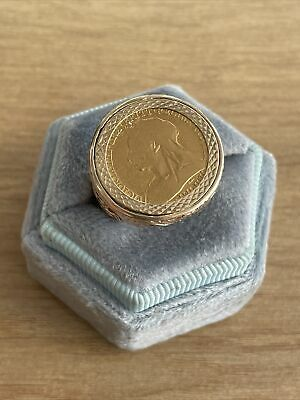 £400 • Buy 9ct Gold 1899 1/2 Half Sovereign Ring Size P