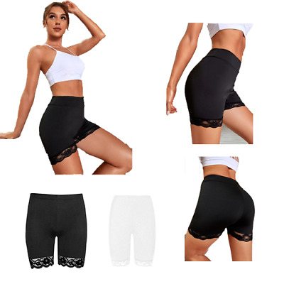 £4.99 • Buy Womens Lace Trim Cycling Shorts Ladies Active Scallop Hot Pants Gym Tights Plus