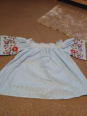 £2.50 • Buy M&S Blue Size 12 Gypsy Style Swing Boho Off Shoulder Top Elastic Embroidered