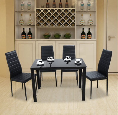 £129.99 • Buy Modern Gorgeous Glass Dinning Table With 4 Faux Leather Chairs Set Home New UK