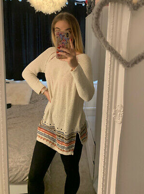 £5.50 • Buy Next Cream Knitted Long Slouchy Jumper Size 10
