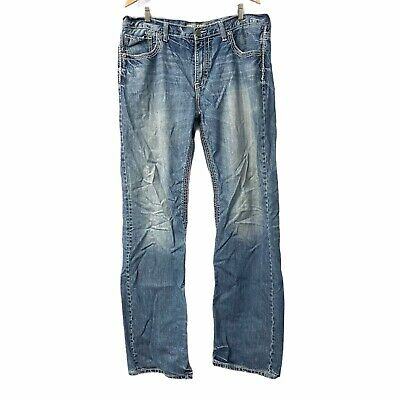 $38.99 • Buy BKE Tyler 38XL Mens 38 X 36 Tall Distressed Blue Jeans Buckle Thick Stitch
