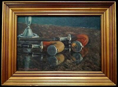 £395 • Buy Aage Frikke (1884-?) Danish Impressionist Still Life With Pipes Antique Painting