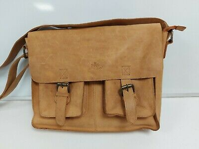 £9.99 • Buy Soft Brown Tanned Leather Rowallan Satchel Bag With Adjustable Strap #566