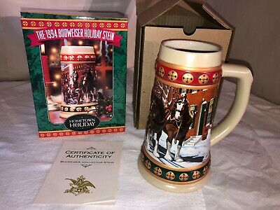 $ CDN9.97 • Buy 1994 Anheuser Busch Budweiser Holiday Stein-New/Box-Hometown Holiday-Clydesdales