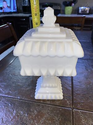 $14.99 • Buy Vintage Westmoreland Milk Glass Pedestal Square Compote Candy Dish W/ Lid