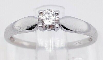 AU350 • Buy Ladies 14ct White Gold Solitaire Diamond Ring VALUATION $3,248.00 NO RESERVE
