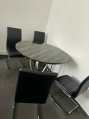 £430 • Buy Savoy Round Black Marble And Chrome Dinning Table With 4 Black Leather Chairs