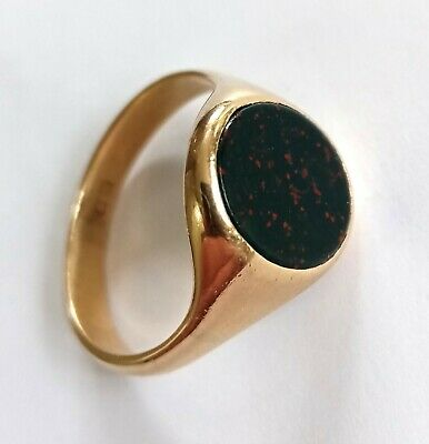 £245 • Buy Men's Traditional Solid 9ct Gold Oval Signet Ring Set With Bloodstone, Size Q.