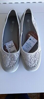 £10 • Buy New Pavers Grey Suede And Lace Flat Pump Memory Foam Size 7 40